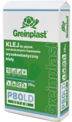 Glue for ceramic tiles and stone, flexible white and low-dust GREINPLAST P80LD