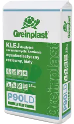 Glue for ceramic tiles and stone, liquid, flexible white and low-dust. GREINPLAST P90LD